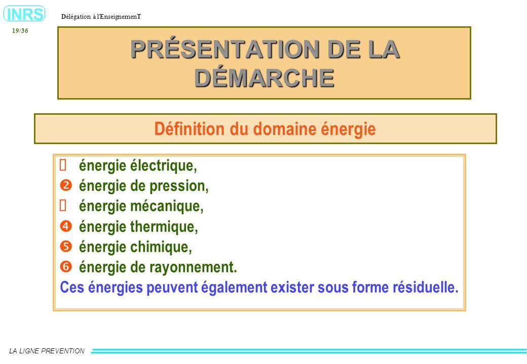 INRS Délégation à l'EnseignemenT LA LIGNE PREVENTION 19/36 PRÉSENTATION DE LA DÉMARCHE Définition du domaine énergie énergie électrique, énergie de pr