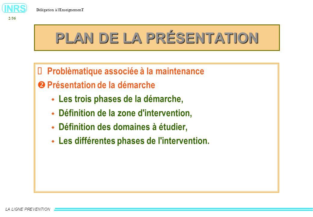 INRS Délégation à l'EnseignemenT LA LIGNE PREVENTION 2/36 PLAN DE LA PRÉSENTATION Problèmatique associée à la maintenance Présentation de la démarche