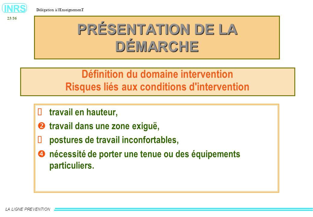 INRS Délégation à l'EnseignemenT LA LIGNE PREVENTION 23/36 PRÉSENTATION DE LA DÉMARCHE Définition du domaine intervention Risques liés aux conditions