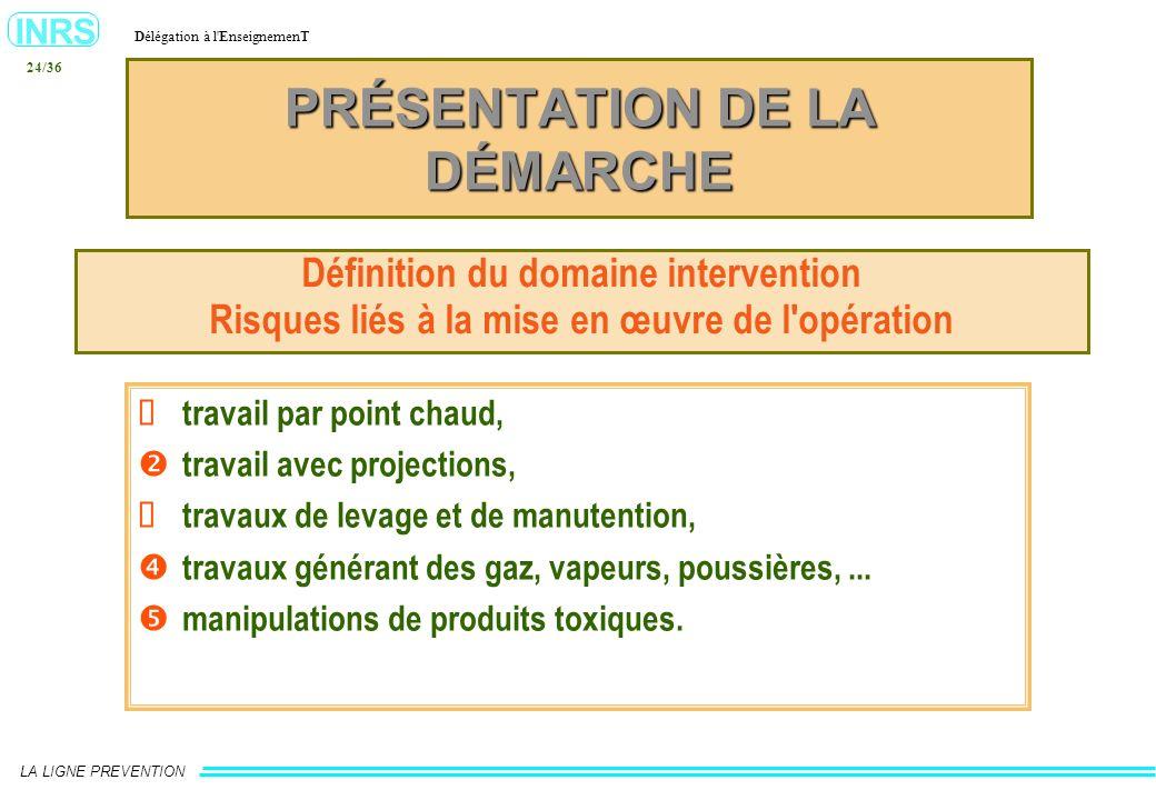 INRS Délégation à l'EnseignemenT LA LIGNE PREVENTION 24/36 PRÉSENTATION DE LA DÉMARCHE Définition du domaine intervention Risques liés à la mise en œu