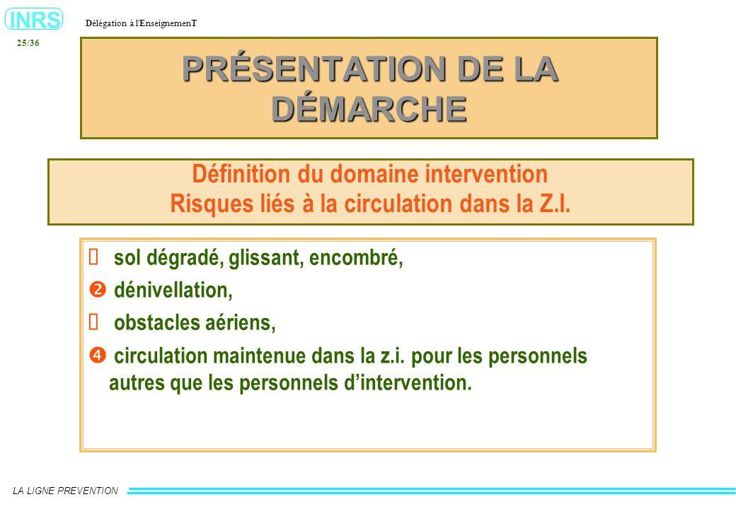 INRS Délégation à l'EnseignemenT LA LIGNE PREVENTION 25/36 PRÉSENTATION DE LA DÉMARCHE Définition du domaine intervention Risques liés à la circulatio