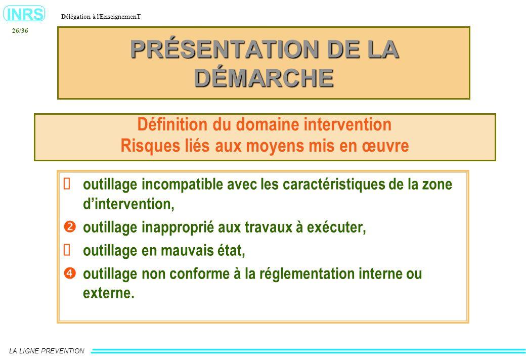 INRS Délégation à l'EnseignemenT LA LIGNE PREVENTION 26/36 PRÉSENTATION DE LA DÉMARCHE Définition du domaine intervention Risques liés aux moyens mis