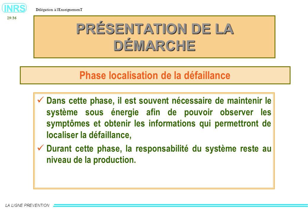 INRS Délégation à l'EnseignemenT LA LIGNE PREVENTION 29/36 PRÉSENTATION DE LA DÉMARCHE Phase localisation de la défaillance Dans cette phase, il est s