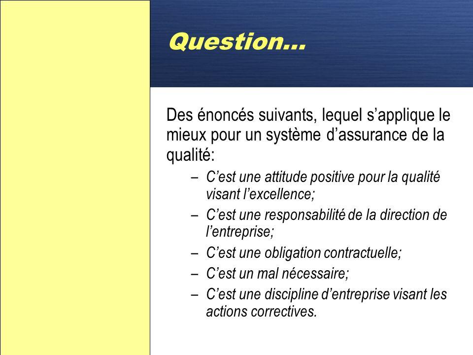 D Question… La norme demande que les enregistrements qualité doivent être conservés durant : – 1 an minimum – le temps prévu par lentreprise – 5 à 7 a
