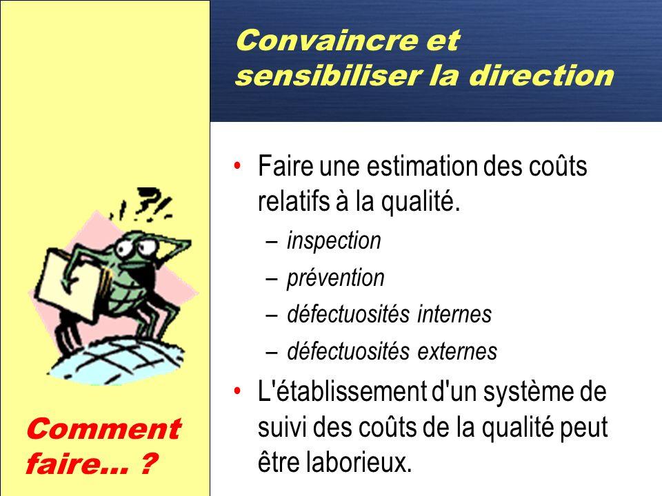 D Convaincre et sensibiliser la direction Faire une estimation des coûts relatifs à la qualité.