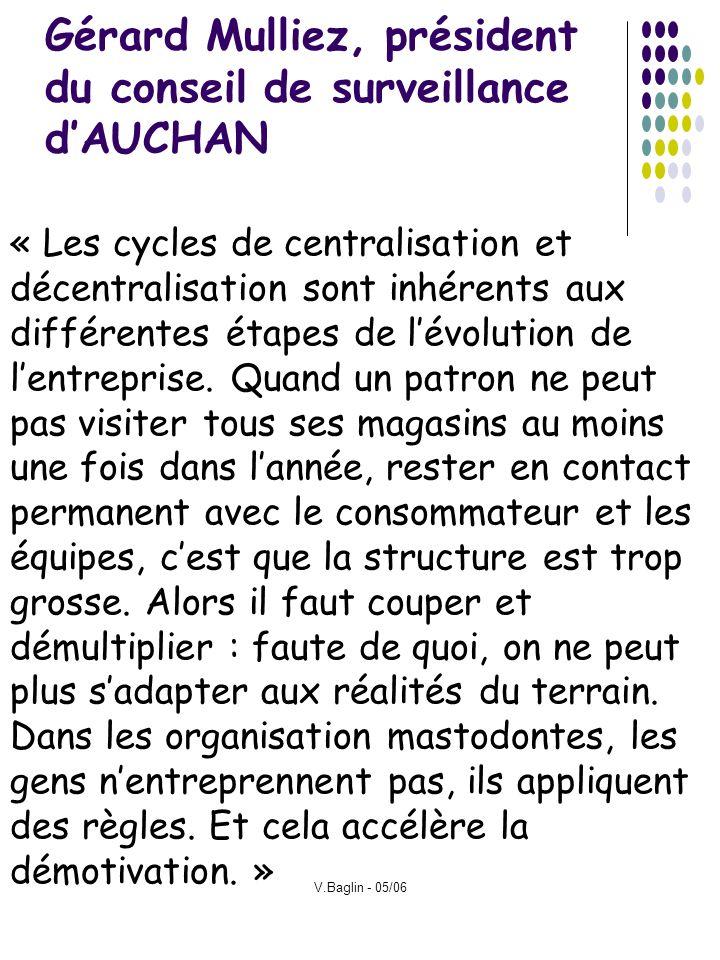 V.Baglin - 05/06 Gérard Mulliez, président du conseil de surveillance dAUCHAN « Les cycles de centralisation et décentralisation sont inhérents aux di