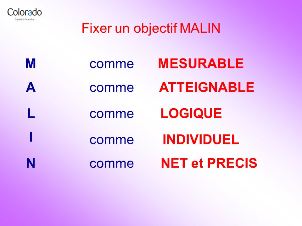 Fixer un objectif MALIN M A L I N comme MESURABLE ATTEIGNABLE LOGIQUE INDIVIDUEL NET et PRECIS
