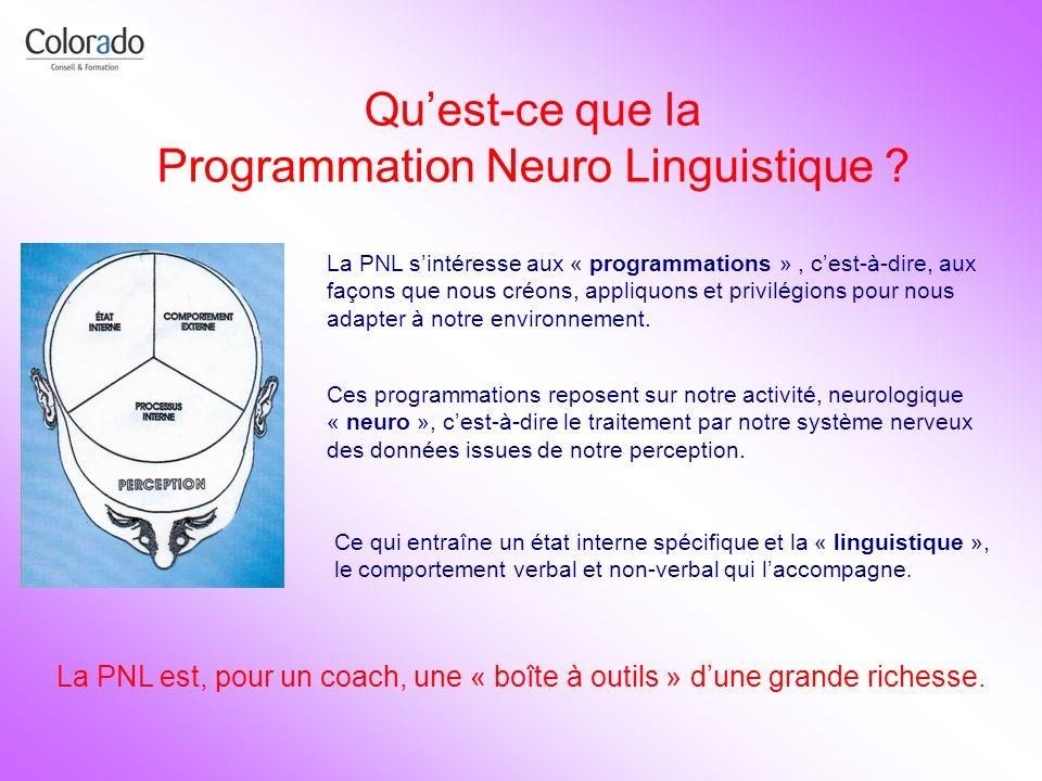 Quest-ce que la Programmation Neuro Linguistique ? La PNL sintéresse aux « programmations », cest-à-dire, aux façons que nous créons, appliquons et pr