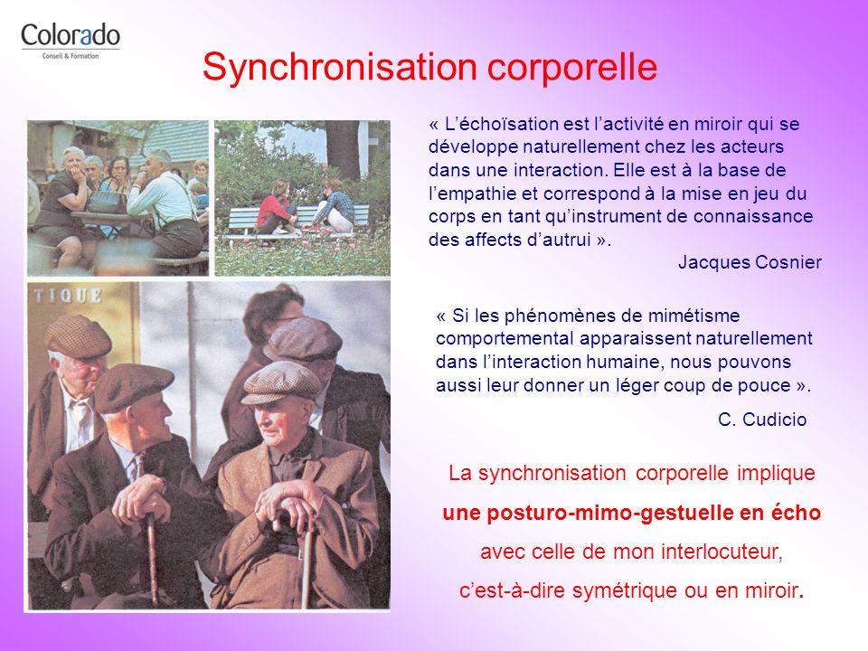 Synchronisation corporelle « Léchoïsation est lactivité en miroir qui se développe naturellement chez les acteurs dans une interaction. Elle est à la