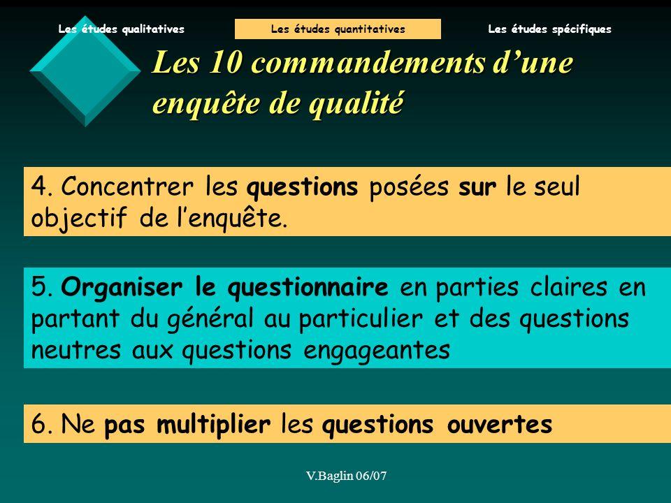 V.Baglin 06/07 4.Concentrer les questions posées sur le seul objectif de lenquête.