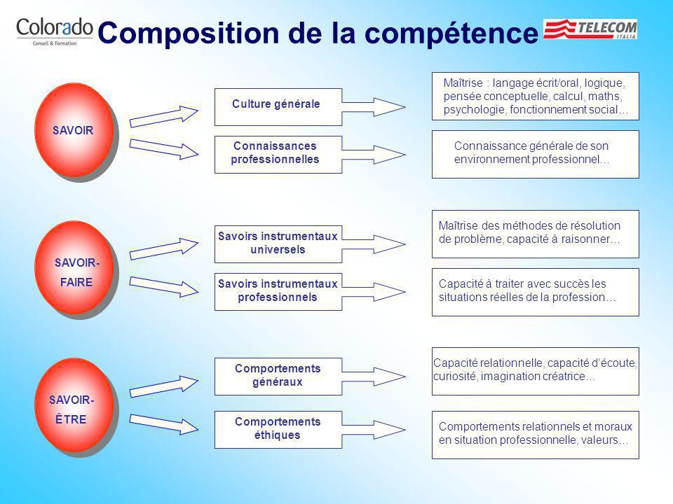 SAVOIR SAVOIR- FAIRE SAVOIR- ÊTRE Culture générale Connaissances professionnelles Savoirs instrumentaux universels Savoirs instrumentaux professionnel