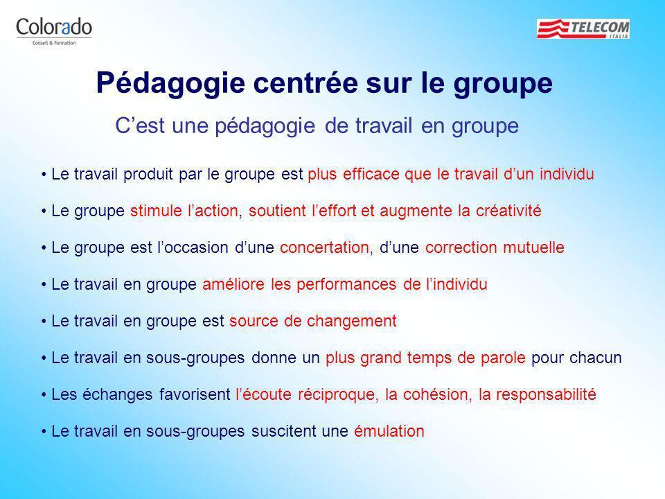 Pédagogie centrée sur le groupe Cest une pédagogie de travail en groupe Le travail produit par le groupe est plus efficace que le travail dun individu