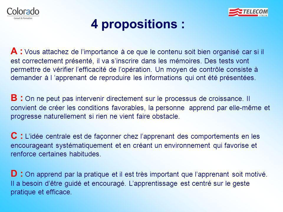 4 propositions : A : Vous attachez de limportance à ce que le contenu soit bien organisé car si il est correctement présenté, il va sinscrire dans les
