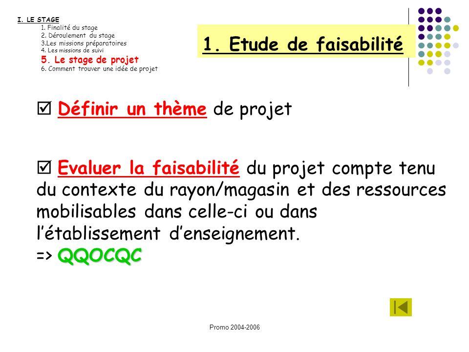 Promo 2004-2006 I. LE STAGE 1. Finalité du stage 2. Déroulement du stage 3.Les missions préparatoires 4. Les missions de suivi 5. Le stage de projet 6