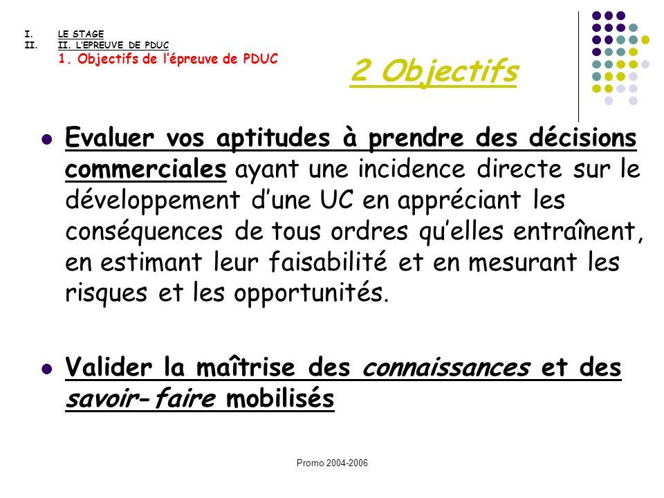 Promo 2004-2006 2 Objectifs Evaluer vos aptitudes à prendre des décisions commerciales ayant une incidence directe sur le développement dune UC en app