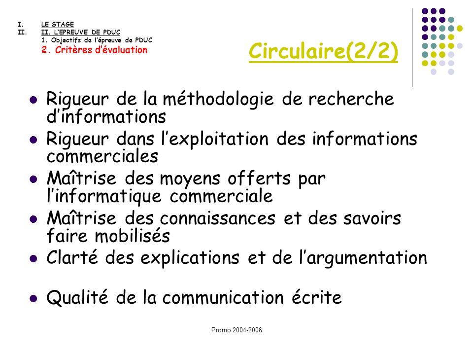 Promo 2004-2006 Rigueur de la méthodologie de recherche dinformations Rigueur dans lexploitation des informations commerciales Maîtrise des moyens off