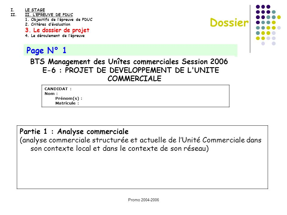 Promo 2004-2006 Dossier Page N° 1 BTS Management des Unîtes commerciales Session 2006 E-6 : PROJET DE DEVELOPPEMENT DE L'UNITE COMMERCIALE CANDIDAT :