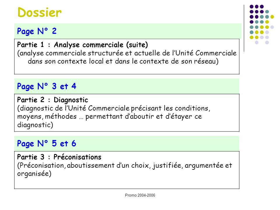 Promo 2004-2006 Partie 1 : Analyse commerciale (suite) (analyse commerciale structurée et actuelle de lUnité Commerciale dans son contexte local et da