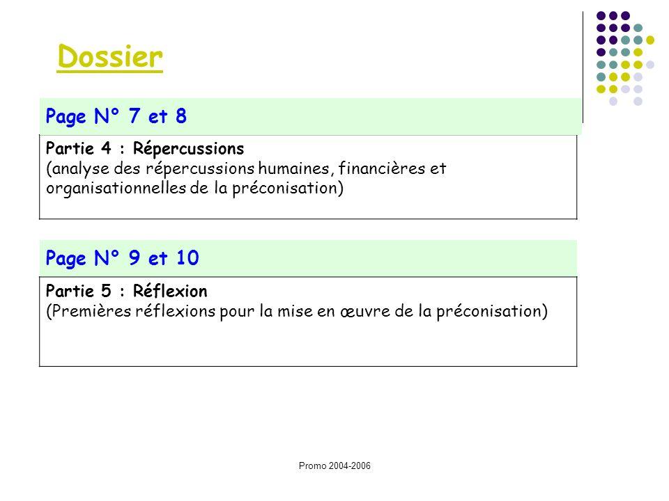 Promo 2004-2006 Dossier Partie 4 : Répercussions (analyse des répercussions humaines, financières et organisationnelles de la préconisation) Page N° 7