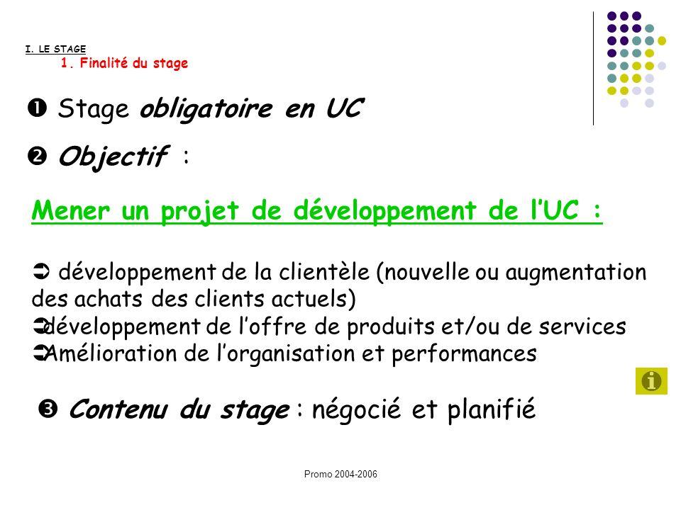 Promo 2004-2006 Contenu du stage : négocié et planifié Stage obligatoire en UC Objectif : Mener un projet de développement de lUC : développement de l