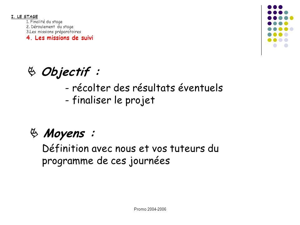 Promo 2004-2006 I. LE STAGE 1. Finalité du stage 2. Déroulement du stage 3.Les missions préparatoires 4. Les missions de suivi Définition avec nous et