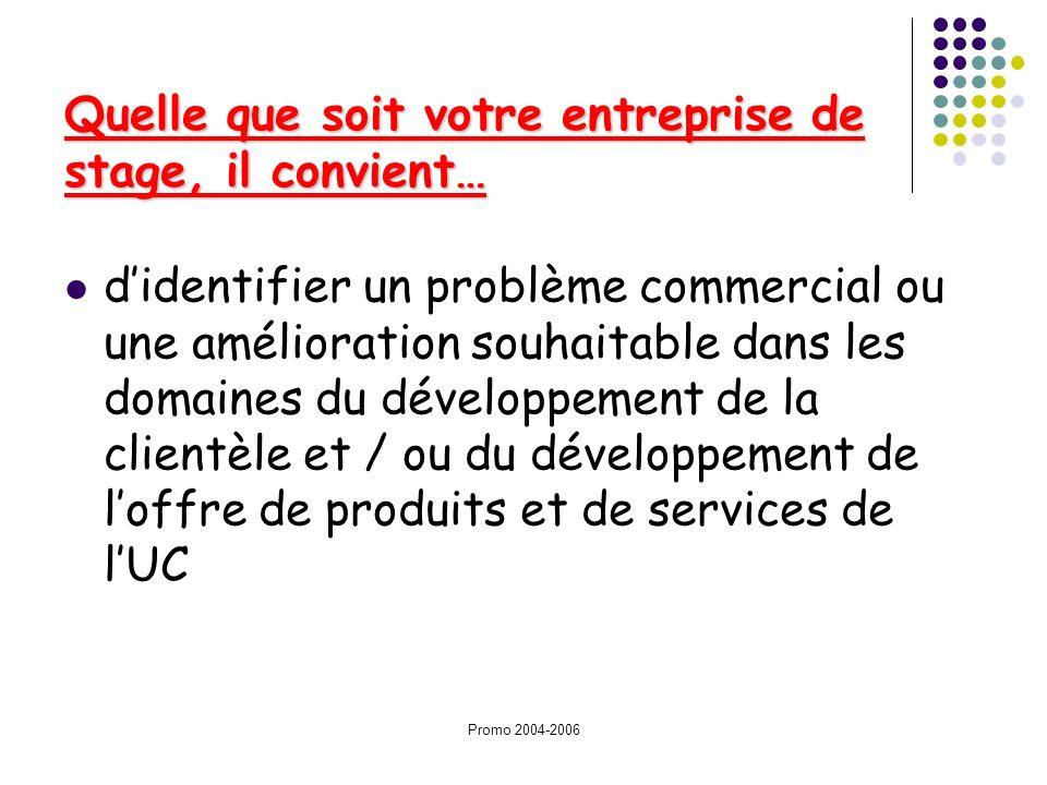 Promo 2004-2006 Quelle que soit votre entreprise de stage, il convient… didentifier un problème commercial ou une amélioration souhaitable dans les do