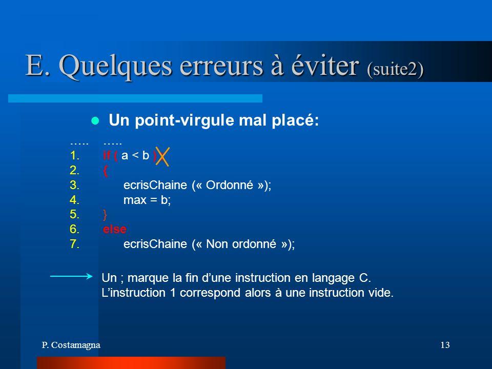 P. Costamagna13 E. Quelques erreurs à éviter (suite2) Un ; marque la fin dune instruction en langage C. Linstruction 1 correspond alors à une instruct