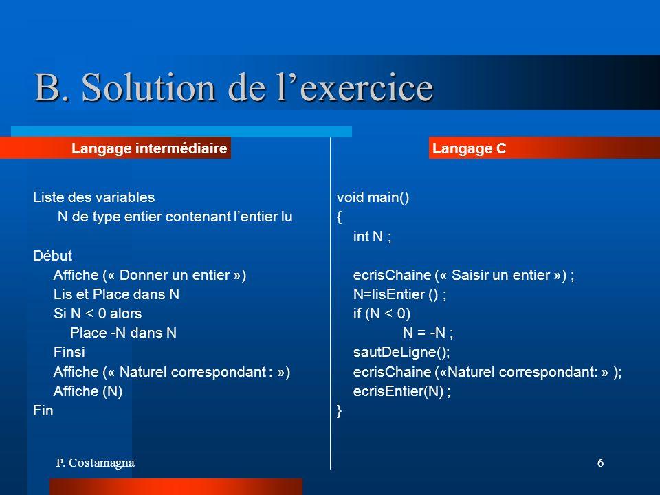 P. Costamagna6 B. Solution de lexercice Liste des variables N de type entier contenant lentier lu Début Affiche (« Donner un entier ») Lis et Place da