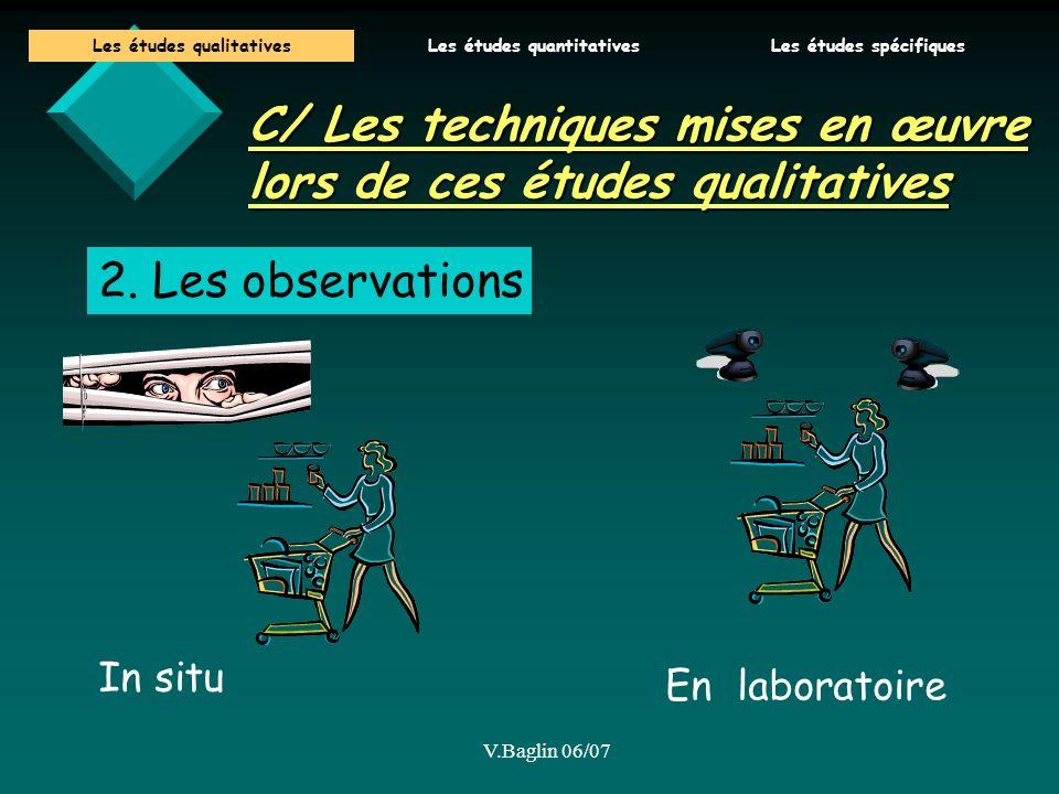 V.Baglin 06/07 C/ Les techniques mises en œuvre lors de ces études qualitatives 2. Les observations In situ En laboratoire Les études qualitativesLes