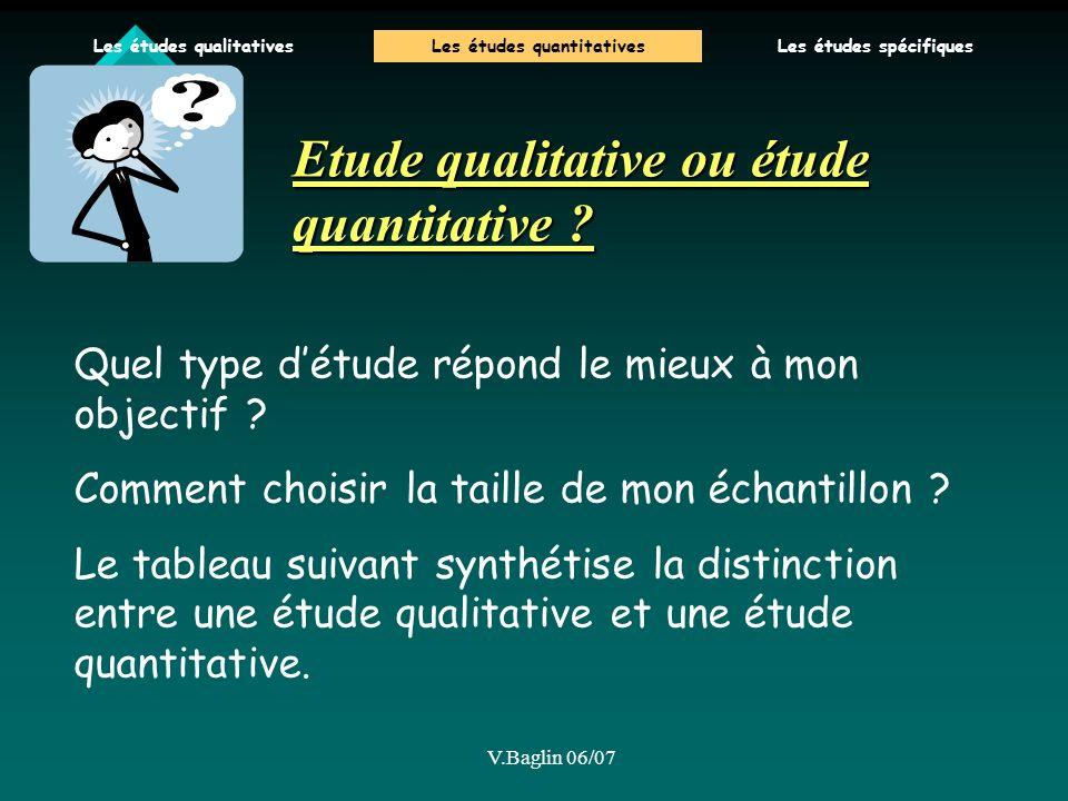 V.Baglin 06/07 Etude qualitative ou étude quantitative ? Quel type détude répond le mieux à mon objectif ? Comment choisir la taille de mon échantillo