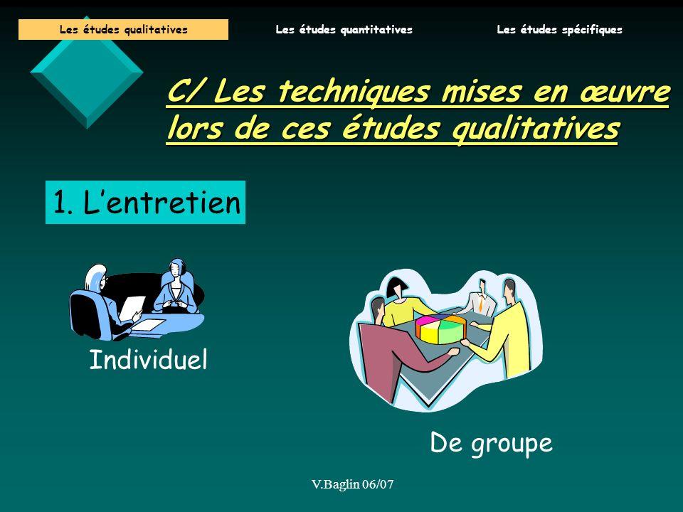 V.Baglin 06/07 C/ Les techniques mises en œuvre lors de ces études qualitatives 1. Lentretien Individuel De groupe Les études qualitativesLes études q