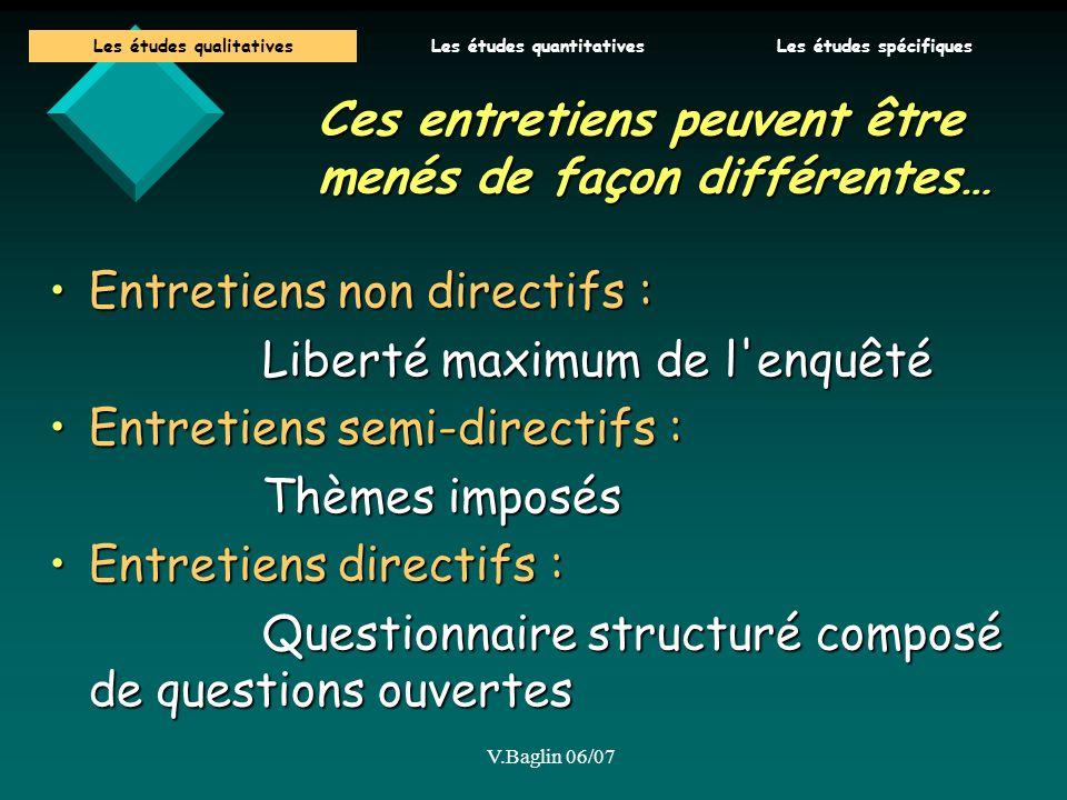V.Baglin 06/07 Ces entretiens peuvent être menés de façon différentes… Entretiens non directifs :Entretiens non directifs : Liberté maximum de l'enquê