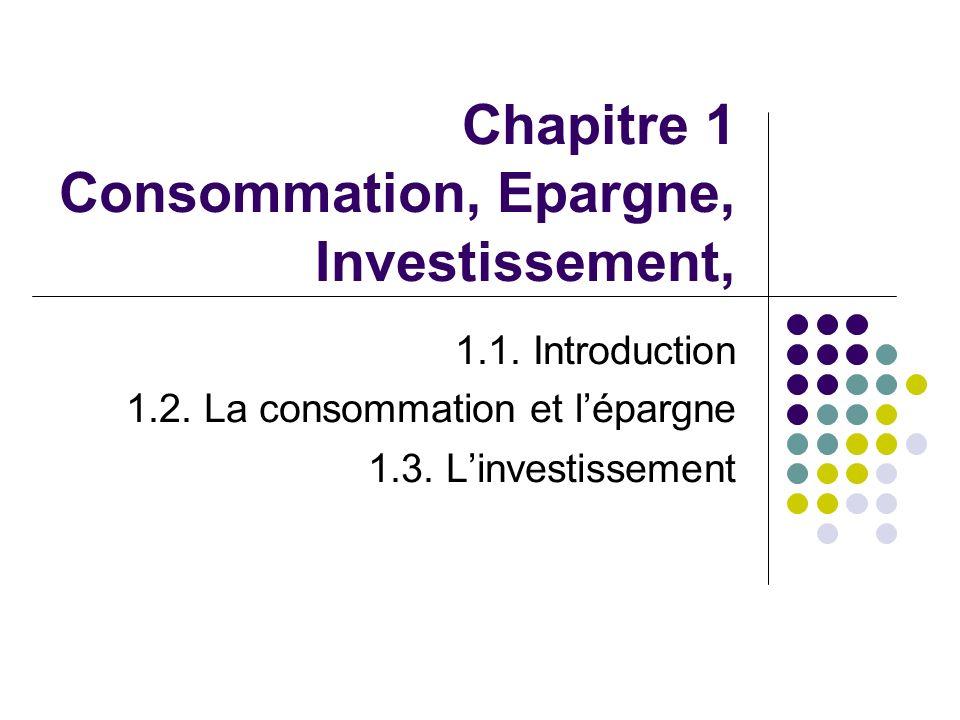 Chapitre 1 Consommation, Epargne, Investissement, 1.1. Introduction 1.2. La consommation et lépargne 1.3. Linvestissement