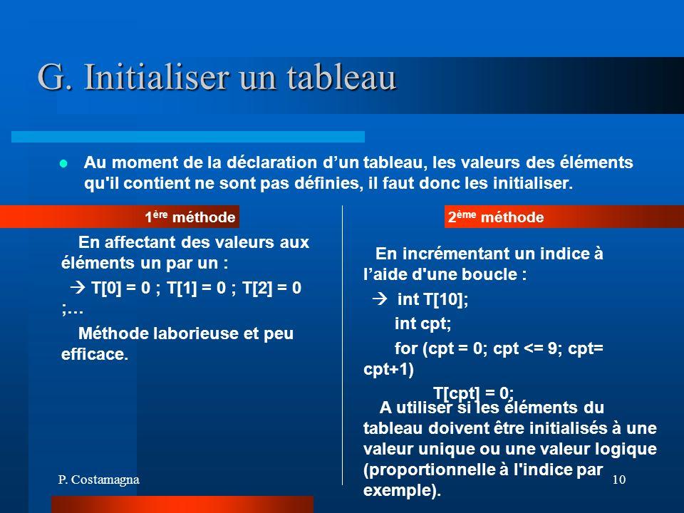 P. Costamagna10 G. Initialiser un tableau Au moment de la déclaration dun tableau, les valeurs des éléments qu'il contient ne sont pas définies, il fa