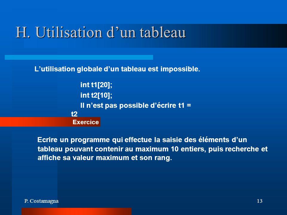 P. Costamagna13 H. Utilisation dun tableau Lutilisation globale dun tableau est impossible. int t1[20]; int t2[10]; Il nest pas possible décrire t1 =
