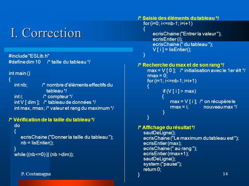 P. Costamagna14 I. Correction #include