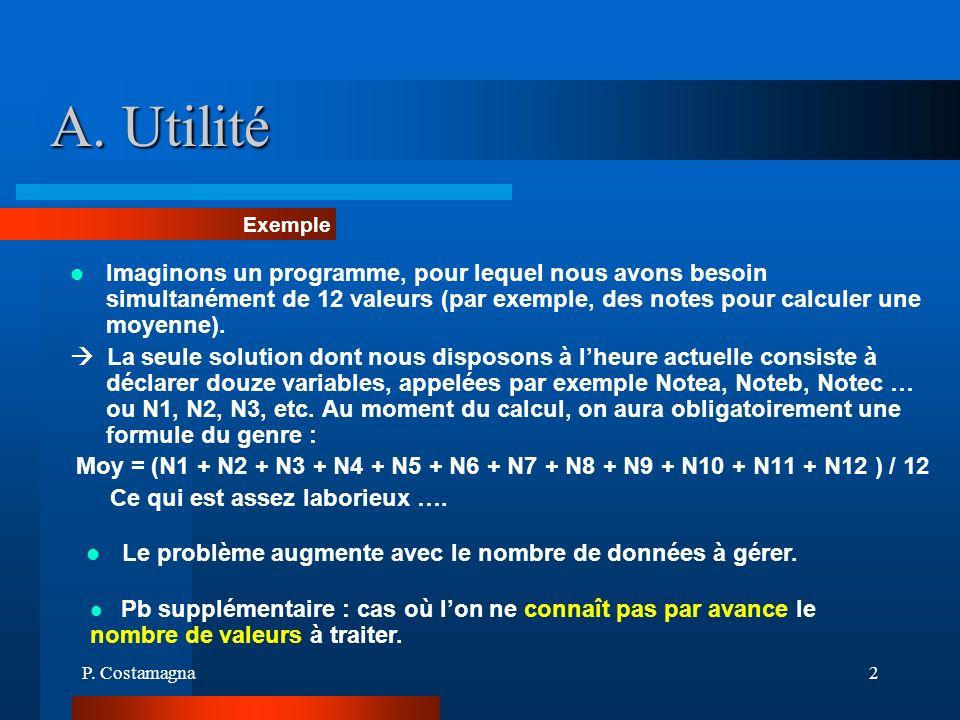 P. Costamagna2 A. Utilité Imaginons un programme, pour lequel nous avons besoin simultanément de 12 valeurs (par exemple, des notes pour calculer une