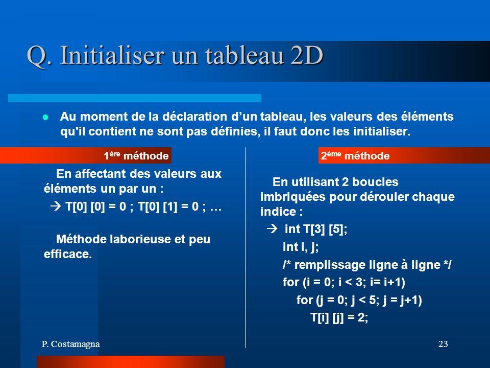 P. Costamagna23 Q. Initialiser un tableau 2D Au moment de la déclaration dun tableau, les valeurs des éléments qu'il contient ne sont pas définies, il