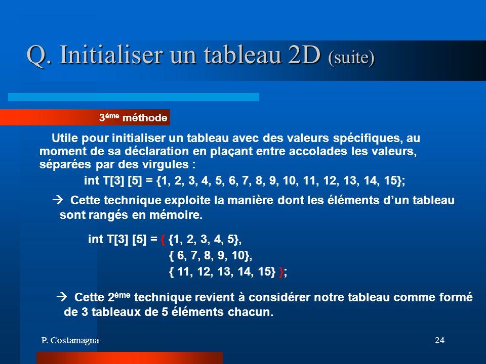 P. Costamagna24 Q. Initialiser un tableau 2D (suite) Utile pour initialiser un tableau avec des valeurs spécifiques, au moment de sa déclaration en pl