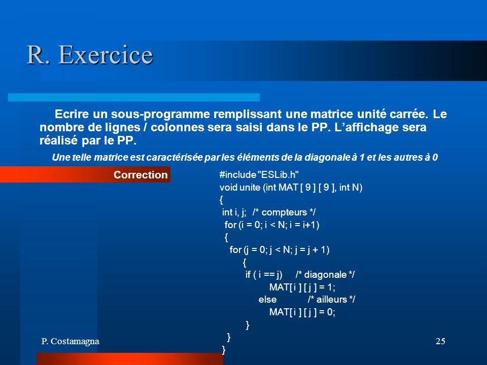 P. Costamagna25 R. Exercice Ecrire un sous-programme remplissant une matrice unité carrée. Le nombre de lignes / colonnes sera saisi dans le PP. Laffi