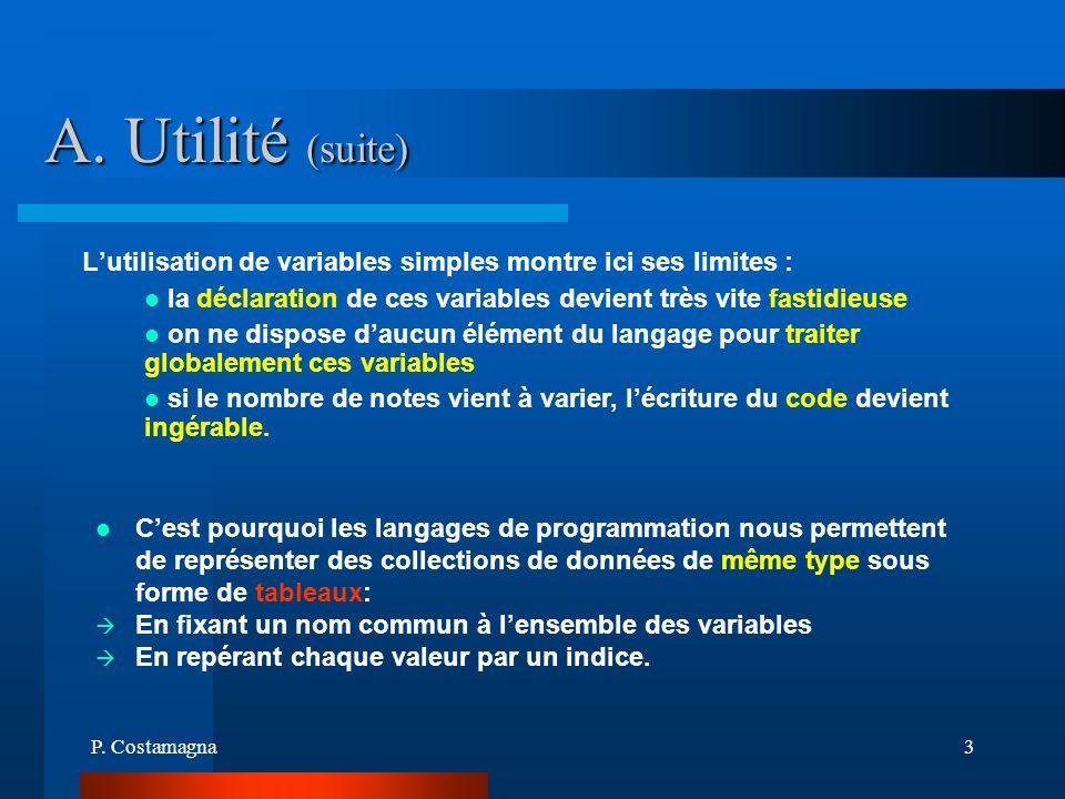 P. Costamagna3 A. Utilité (suite) la déclaration de ces variables devient très vite fastidieuse on ne dispose daucun élément du langage pour traiter g