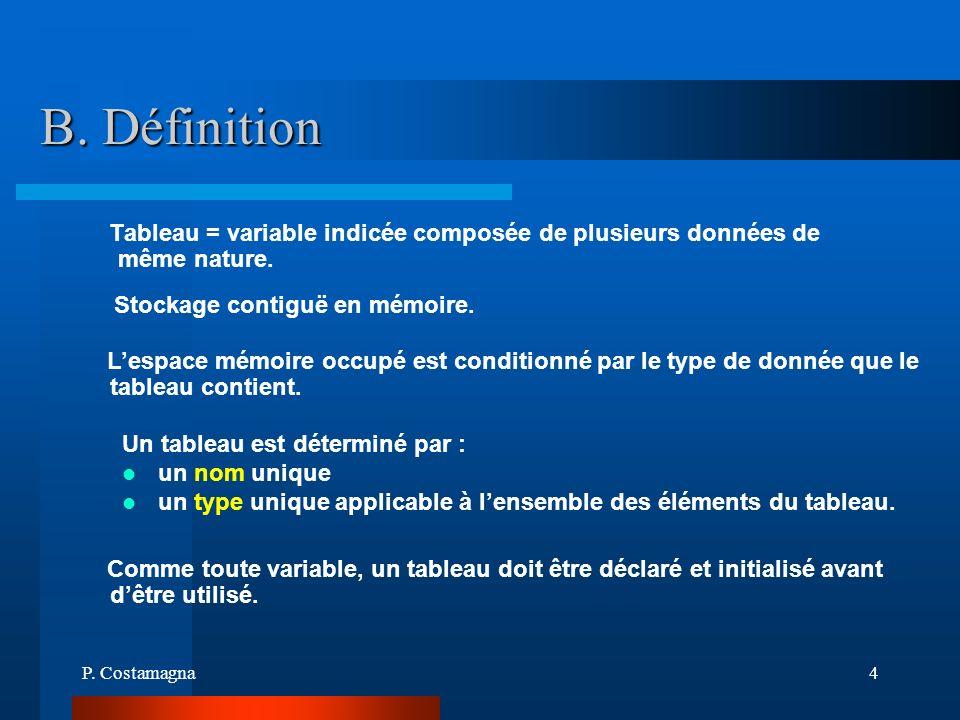 P. Costamagna4 B. Définition Un tableau est déterminé par : un nom unique un type unique applicable à lensemble des éléments du tableau. Lespace mémoi