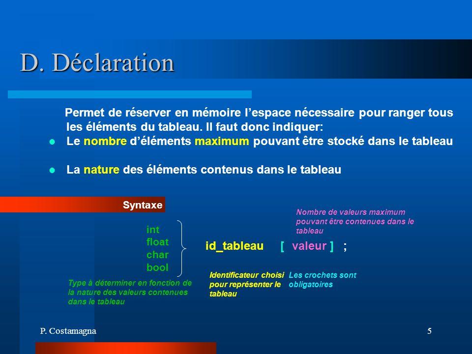 P. Costamagna5 D. Déclaration Permet de réserver en mémoire lespace nécessaire pour ranger tous les éléments du tableau. Il faut donc indiquer: Le nom