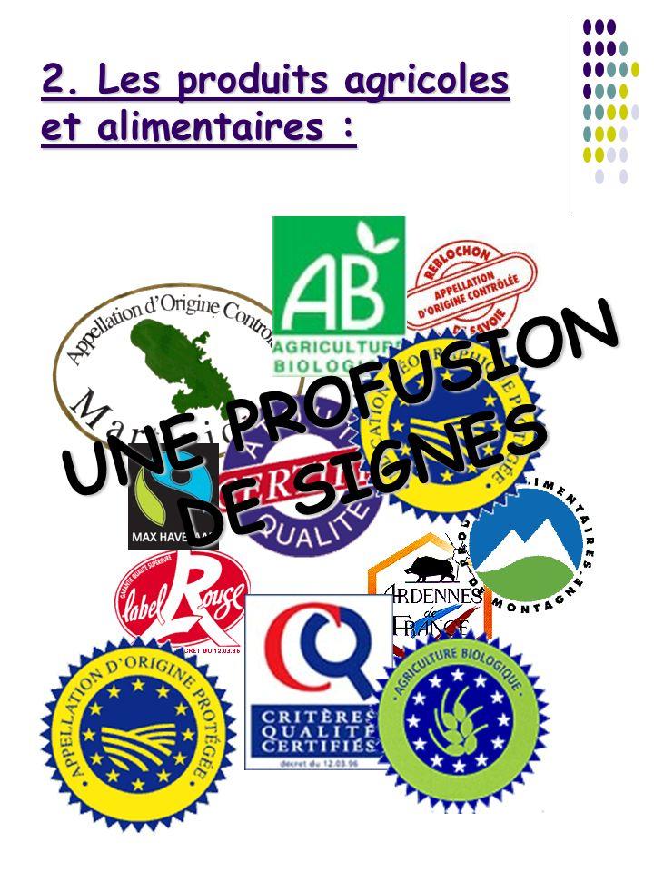 2. Les produits agricoles et alimentaires : UNE PROFUSION DE SIGNES