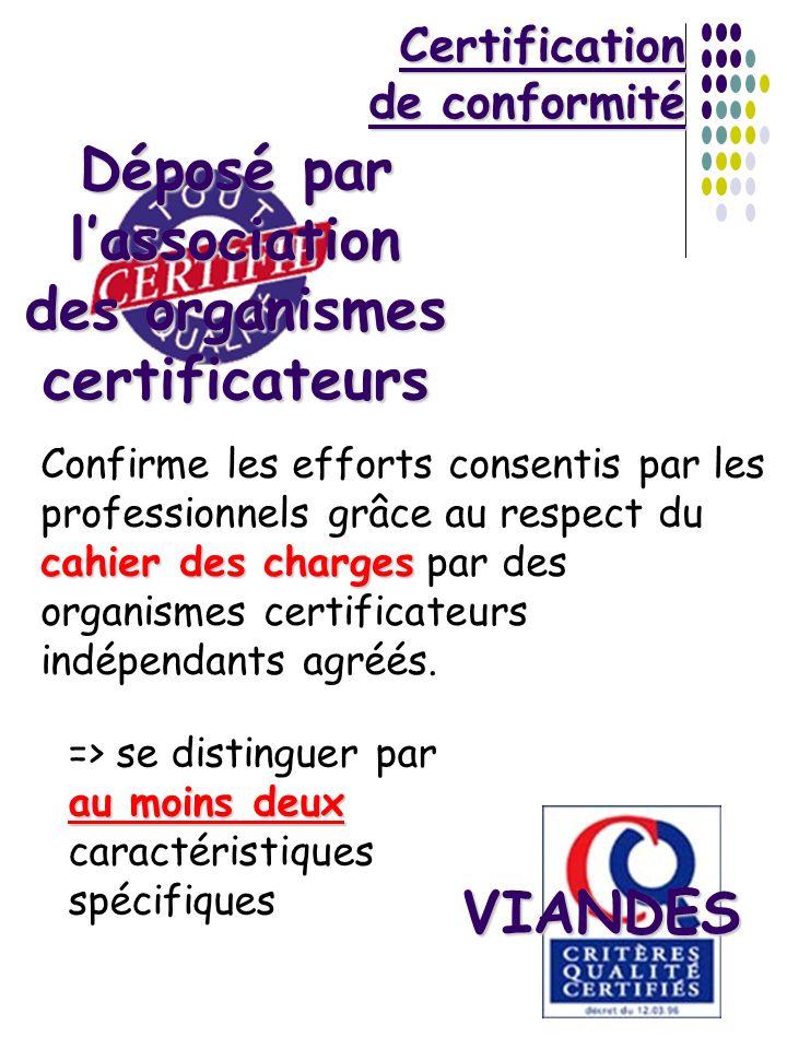 Certification de conformité cahier des charges Confirme les efforts consentis par les professionnels grâce au respect du cahier des charges par des or