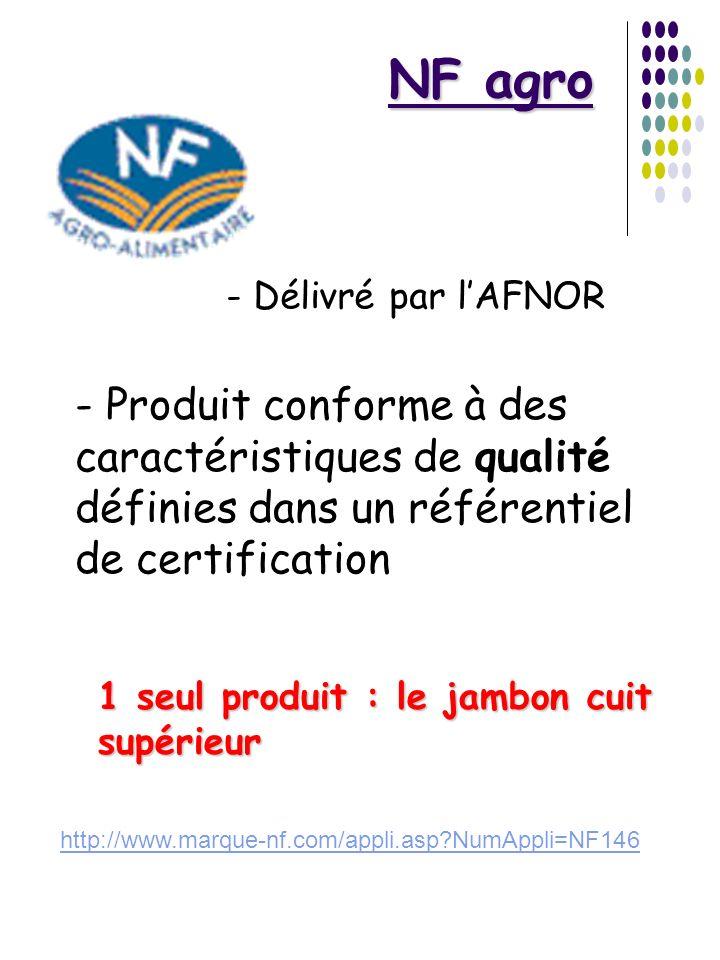 NF agro - Délivré par lAFNOR - Produit conforme à des caractéristiques de qualité définies dans un référentiel de certification 1 seul produit : le ja