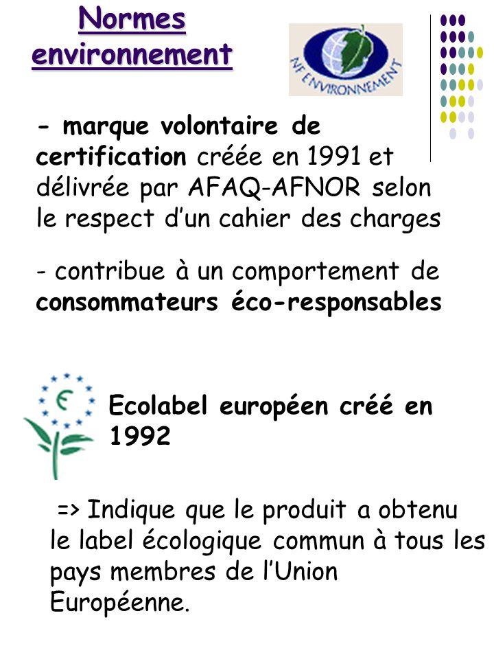 Normes environnement => Indique que le produit a obtenu le label écologique commun à tous les pays membres de lUnion Européenne. - marque volontaire d