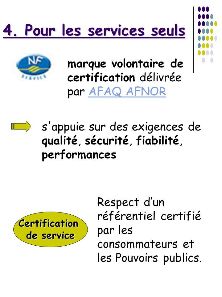 4. Pour les services seuls marque volontaire de certification délivrée par AFAQ AFNORAFAQ AFNOR s'appuie sur des exigences de qualité, sécurité, fiabi