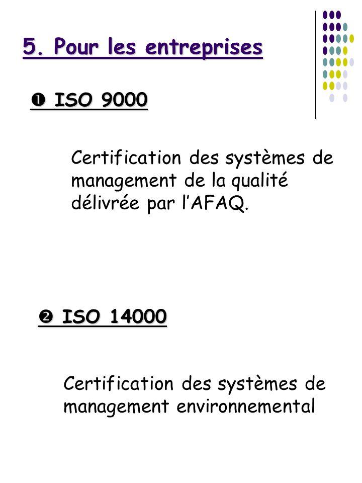 5. Pour les entreprises ISO 9000 ISO 9000 ISO 14000 ISO 14000 Certification des systèmes de management de la qualité délivrée par lAFAQ. Certification