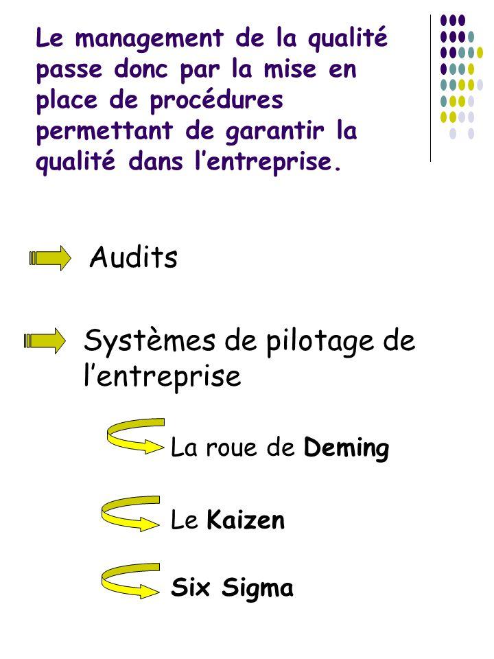 Le management de la qualité passe donc par la mise en place de procédures permettant de garantir la qualité dans lentreprise. Audits Systèmes de pilot